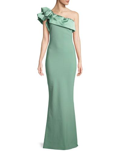 Elise One-Shoulder Satin Gown