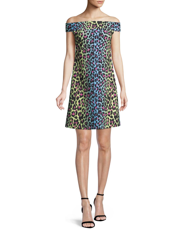 Anoush Off-the-Shoulder Animal-Print Dress