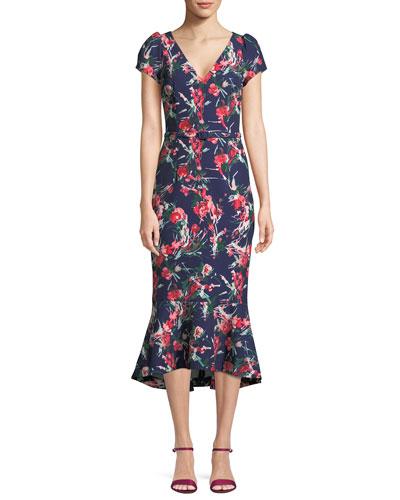 V-Neck Floral-Print Flutter Belted Dress