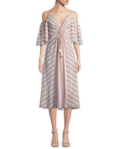 Striped Cold-Shoulder V-Neck Dress