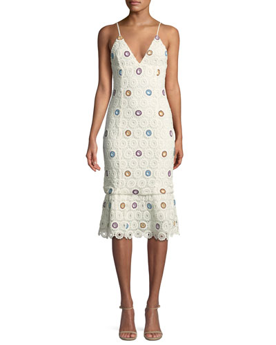 Iris Sleeveless Crochet Lace Midi Dress