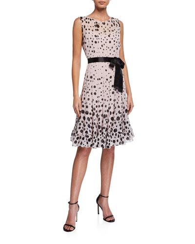 Sleeveless Chiffon Polka Dot Pintuck Dress
