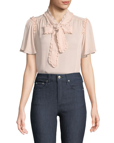 nadeen self-tie silk top