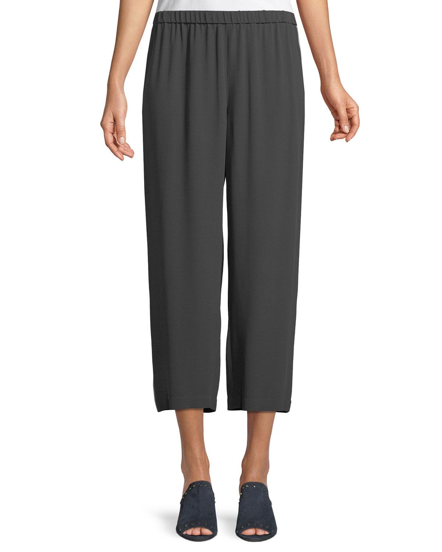Straight-Leg Silk Crepe Pants w/ Side Piping