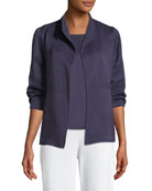 Linen/Silk Satin 3/4-Sleeve Jacket