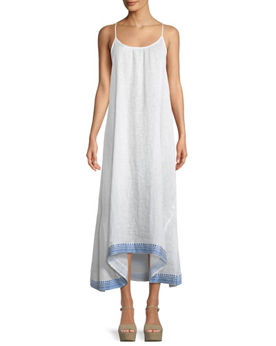 Tulum Sleeveless Linen Maxi Dress w/ Embroidered Hem
