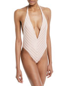 Demi Deep V Halter One-Piece Swimsuit