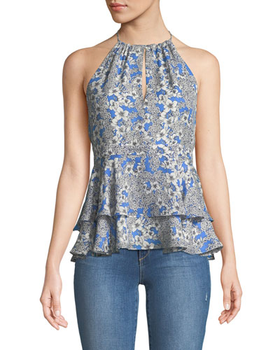 Dawson Sleeveless Floral-Print Peplum Silk Top