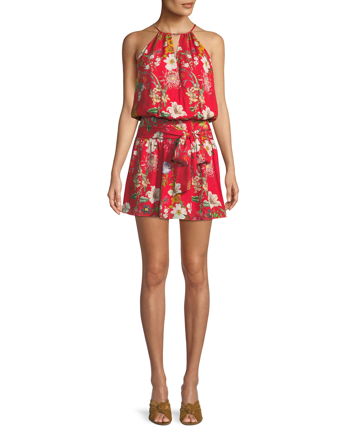 LARISSA SLEEVELESS FLORAL-PRINT SILK DRESS