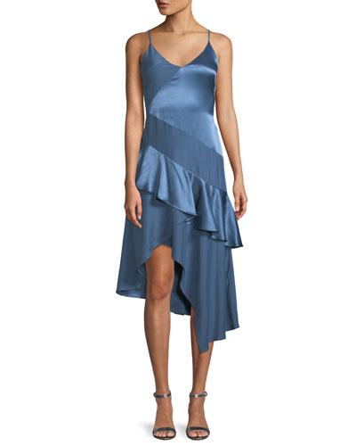 Selma Sleeveless Silk Combo Ruffle Dress