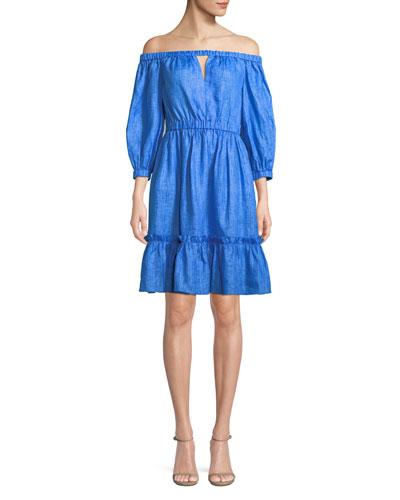 Amanda Linen Off-the-Shoulder Dress