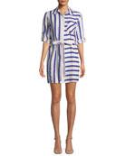 Split-Striped Tie-Waist Linen-Stretch Shirt Dress