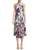 Milly Casey Floral-Print Silk Halter Dress
