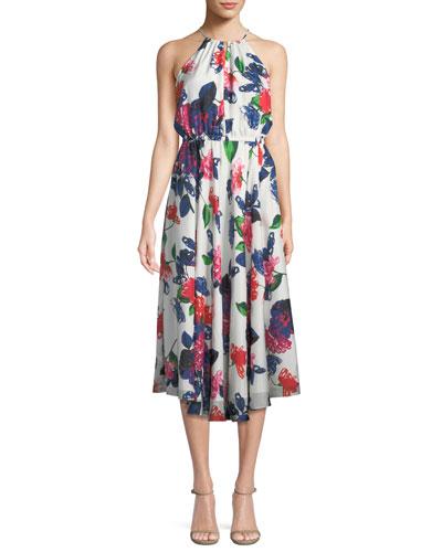 Casey Floral-Print Silk Halter Dress