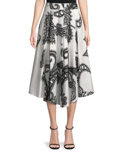 Fiona Lace-Print Cotton A-Line Skirt