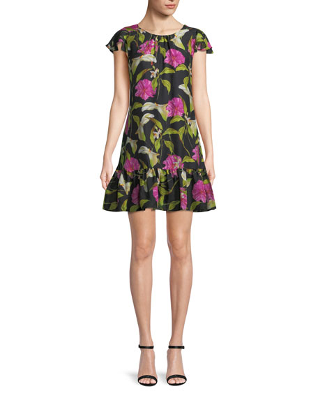 Milly Jill Floral-Print Silk Flounce Dress