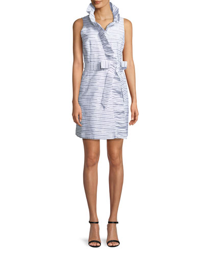 Sleeveless Ruffled Wrap Dress