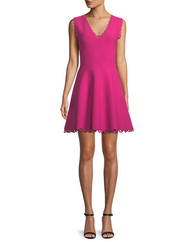 f6b9c4699e0 Quick Look. Milly · Scalloped-Trim Fit-and-Flare Dress
