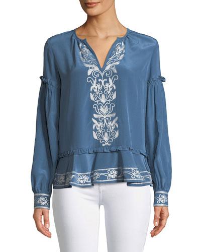 Sawyer Split-Neck Long-Sleeve Embroidered Silk Blouse