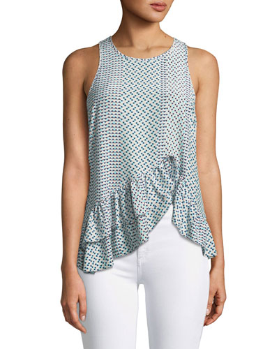 Ginny Sleeveless Ruffled High-Low Printed Silk Top