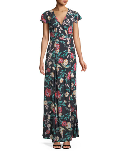 Kayla Floral-Print Wrap Maxi Dress