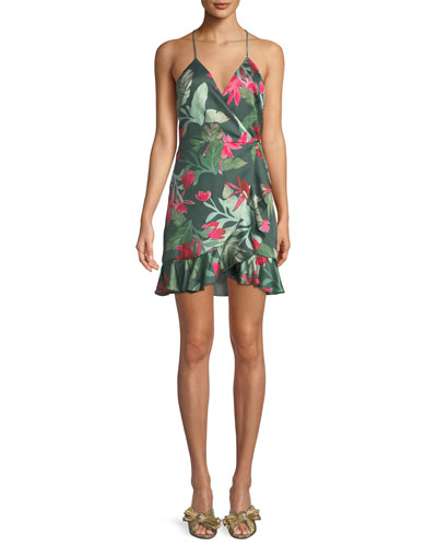 Gigi Halter Floral-Print Mini Wrap Dress