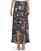 Waves For Days Floral-Print Wrap Skirt