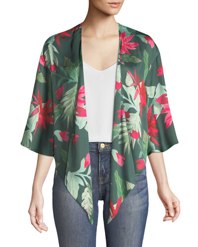 Dino Floral-Print Open-Front Kimono Top