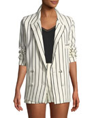 Fanning Striped Double-Breasted Linen Blazer