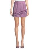 Ballard Checked Ruffle Mini Skirt