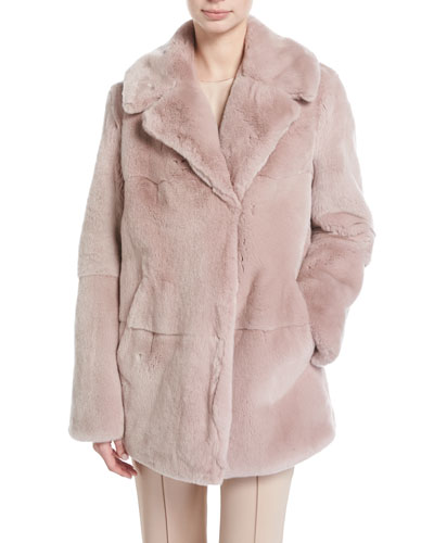 Stone Notched-Collar Long-Sleeve Rabbit Fur Coat