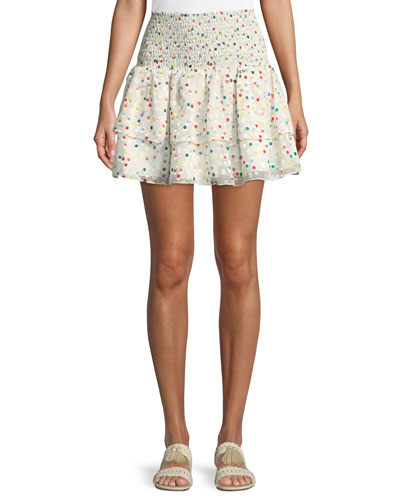 Flounce Dot-Print Smocked Mini Skirt