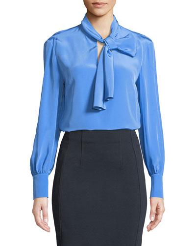 High Neck Long-Sleeve Silk Bow Blouse