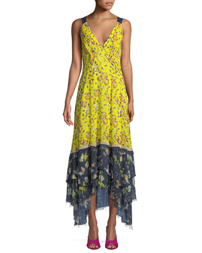 Everly Garden-Print Sleeveless Maxi Dress
