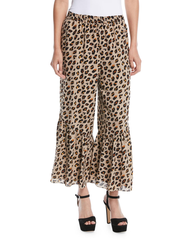 Leah Bell-Hem Animal-Print Silk Pants