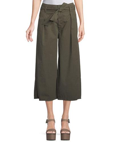 Arisa Wide-Leg Crop Cotton-Twill Pants