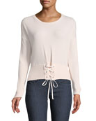 Audrina Crewneck Lace-Detail Top
