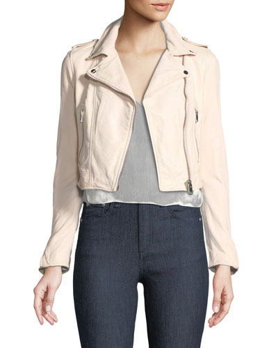 Gigi Cropped Lamb Leather Moto Jacket