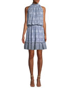 Beatrice Sleeveless Silk Blouson Mini Dress