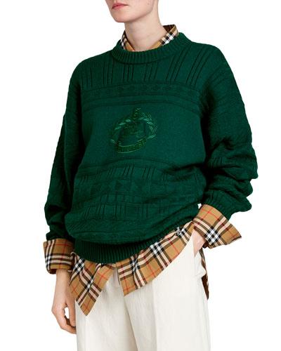 Geometric-Stitched Wool Archive Logo Sweater