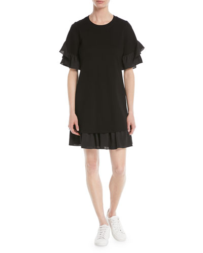 Savina Ruffle-Trim Shift Dress