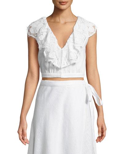 Rosalie Sleeveless Linen Crop Top w/ Lace Trim
