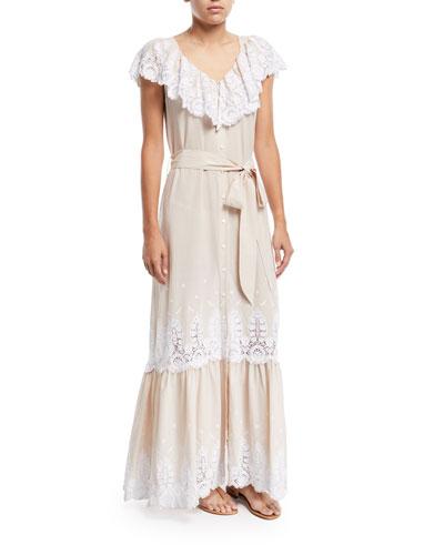 Thalia Cotton Embroidered Dress