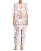 Priscilla Mirage Allover Lace Kimono Coverup