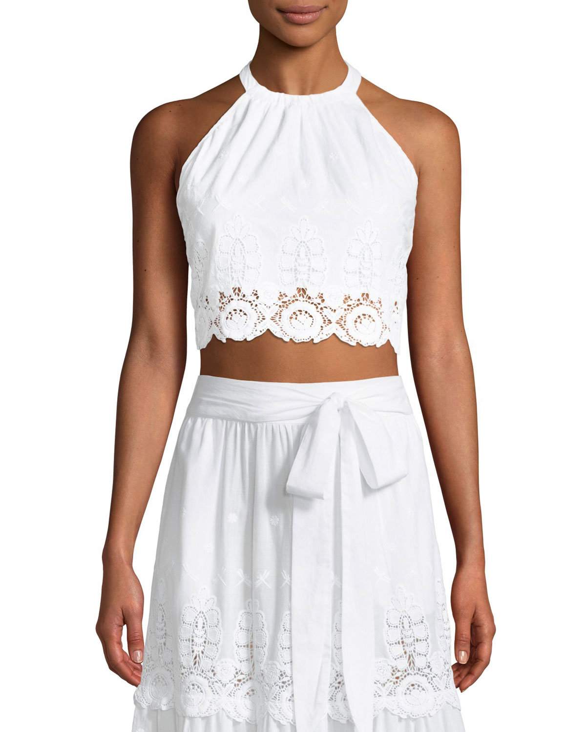 MIGUELINA JASPER EMBROIDERED LACE HALTER CROP TOP