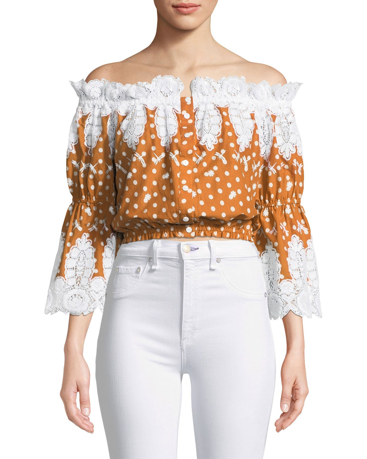 MIGUELINA ARI DOT-PRINT LACE OFF-SHOULDER TOP