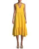 Lita V-Neck A-Line Cotton Dress