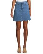 Lennie A-Line Scalloped-Hem Denim Skirt