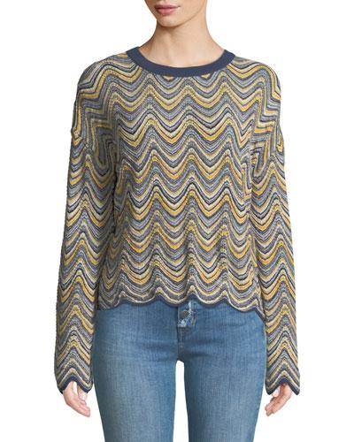 Arlo Zigzag Mini-Stripes Crewneck Long-Sleeve Merino Sweater