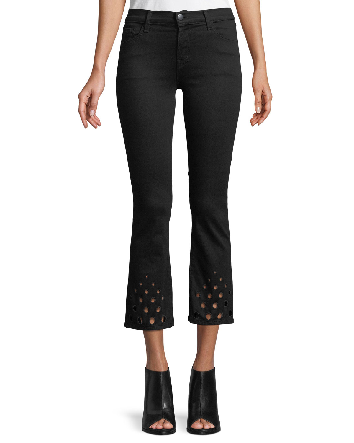 Selena Mid Rise Coated Cropped Bootcut Jeans In Admiration, Black